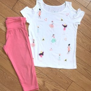 💕Justice Outfit 3-D graphic top & Crop Yoga Pants